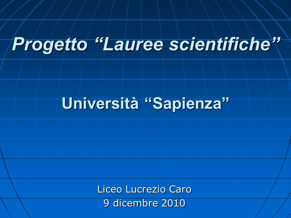Progetto Lauree scientifiche Università Sapienza