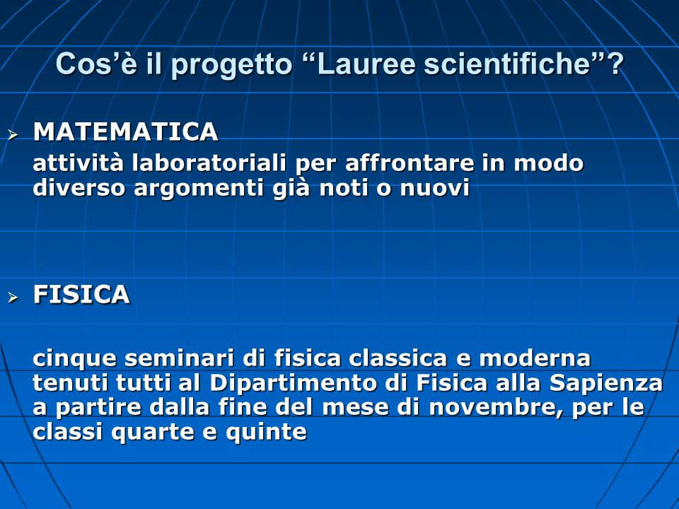 Cos'è il progetto Lauree scientifiche