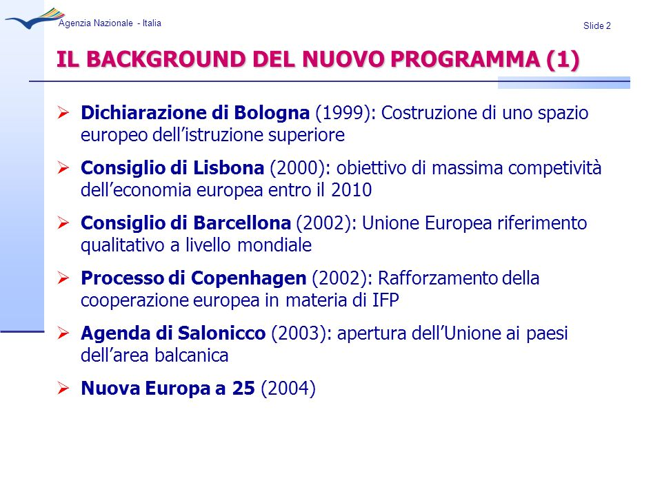 IL BACKGROUND DEL NUOVO PROGRAMMA (1)