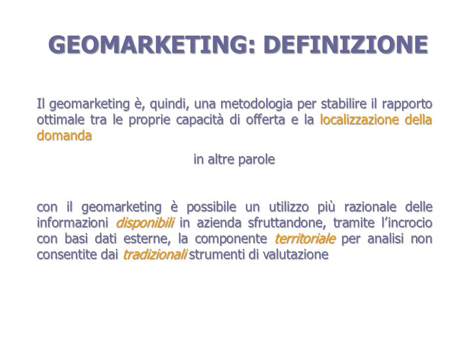 GEOMARKETING: DEFINIZIONE