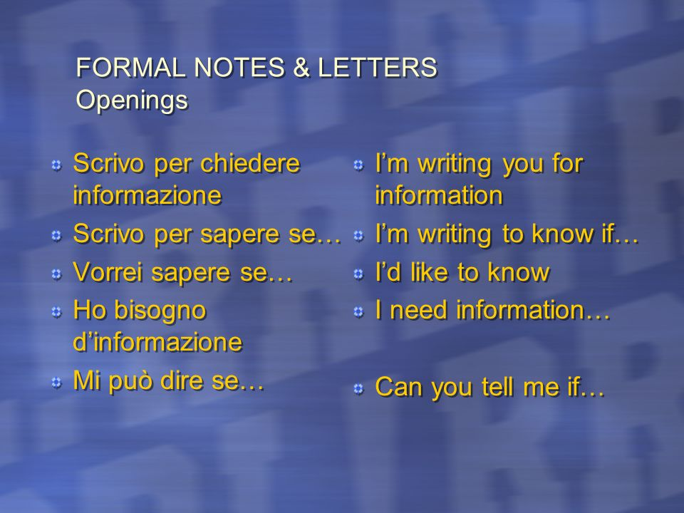 FORMAL NOTES & LETTERS Openings