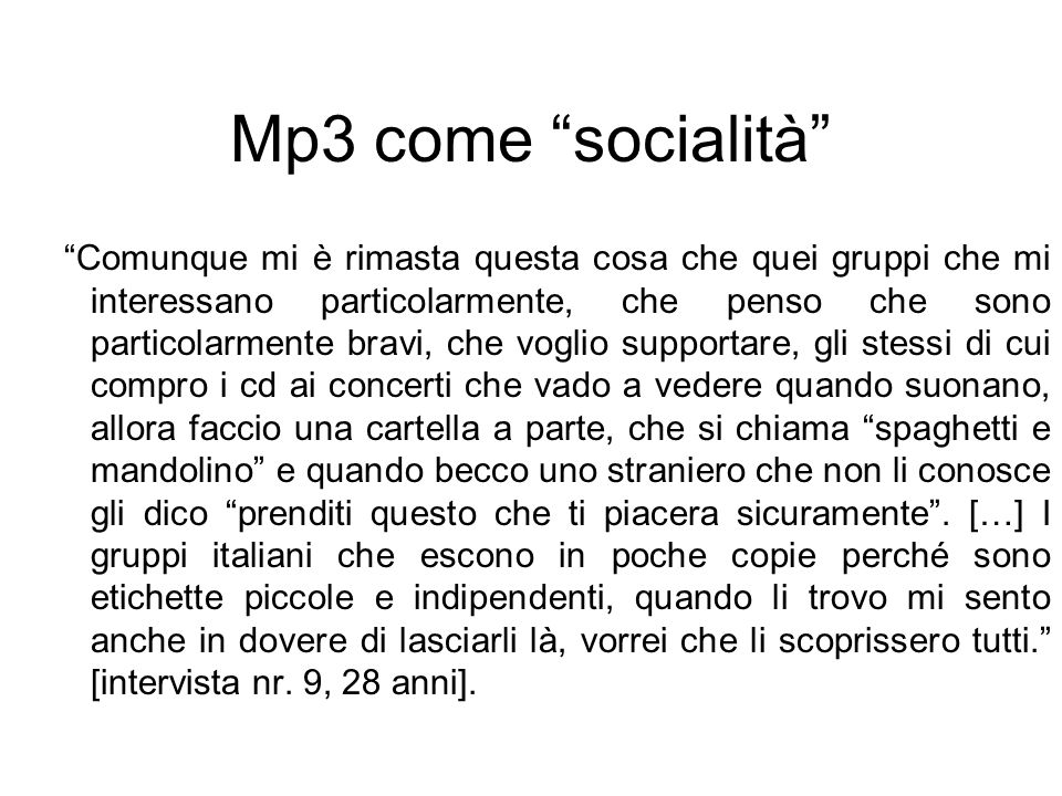 Mp3 come socialità
