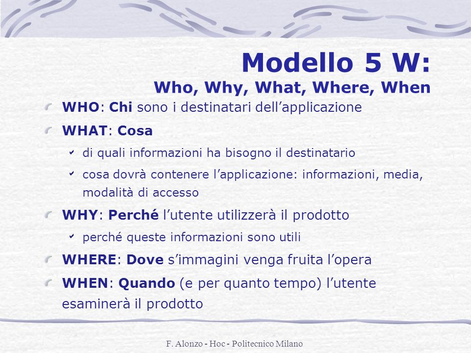 Modello 5 W: Who, Why, What, Where, When
