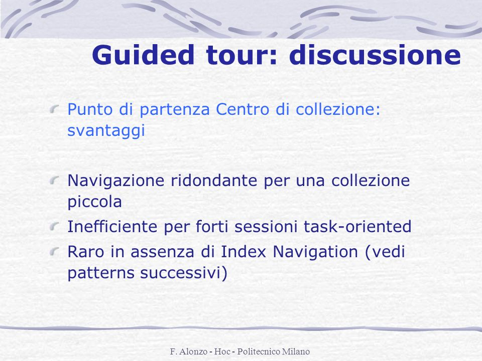 Guided tour: discussione