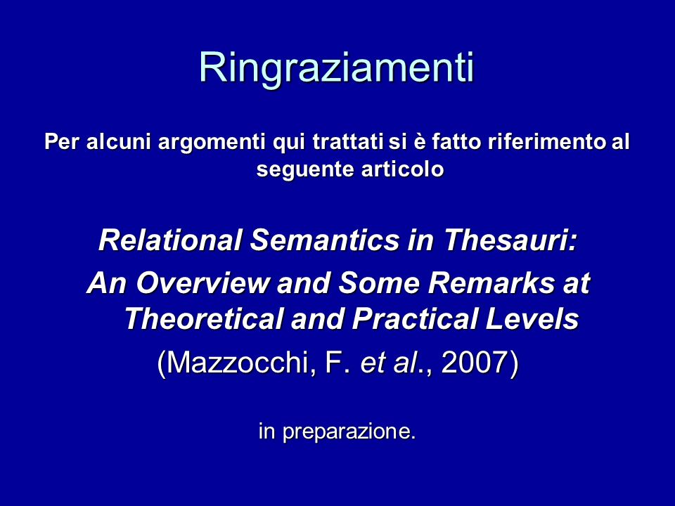 Relational Semantics in Thesauri: