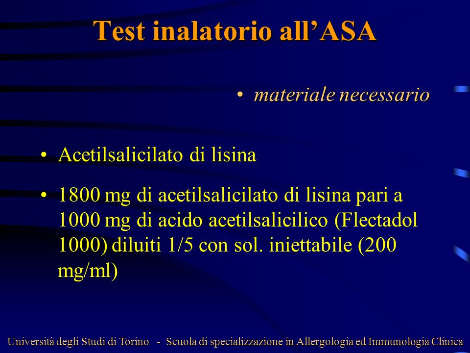Test inalatorio all'ASA