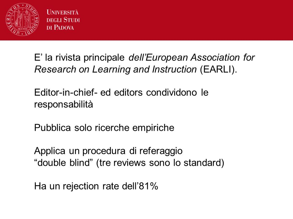 E' la rivista principale dell'European Association for