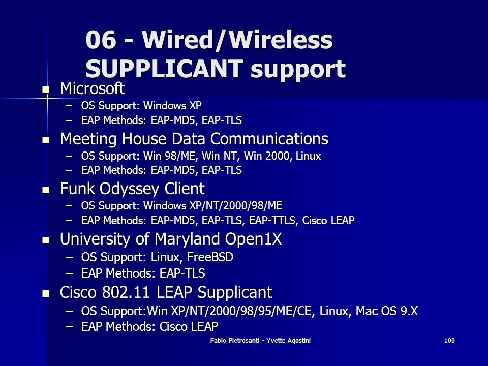 06 - Wired/Wireless SUPPLICANT support