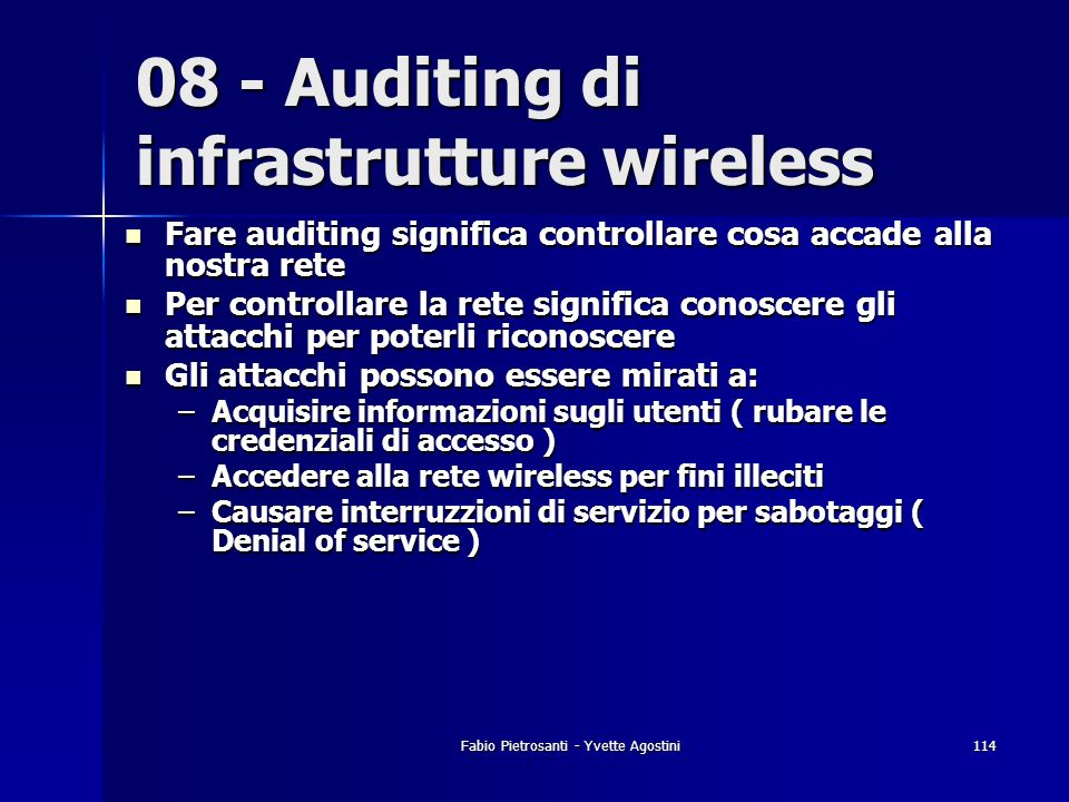 08 - Auditing di infrastrutture wireless