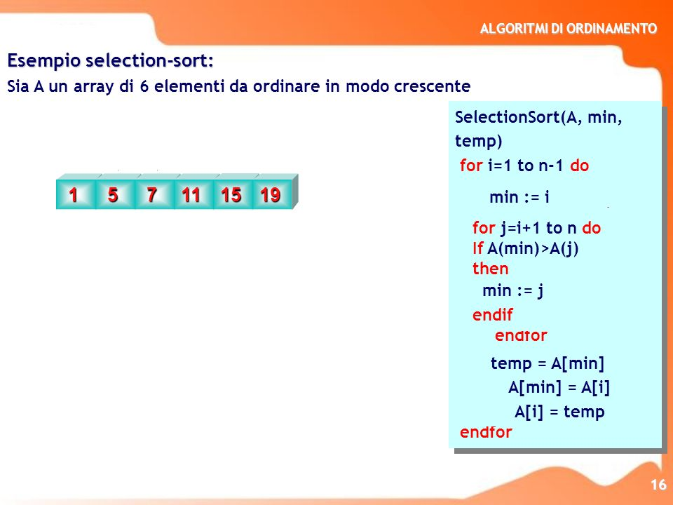 Esempio selection-sort: