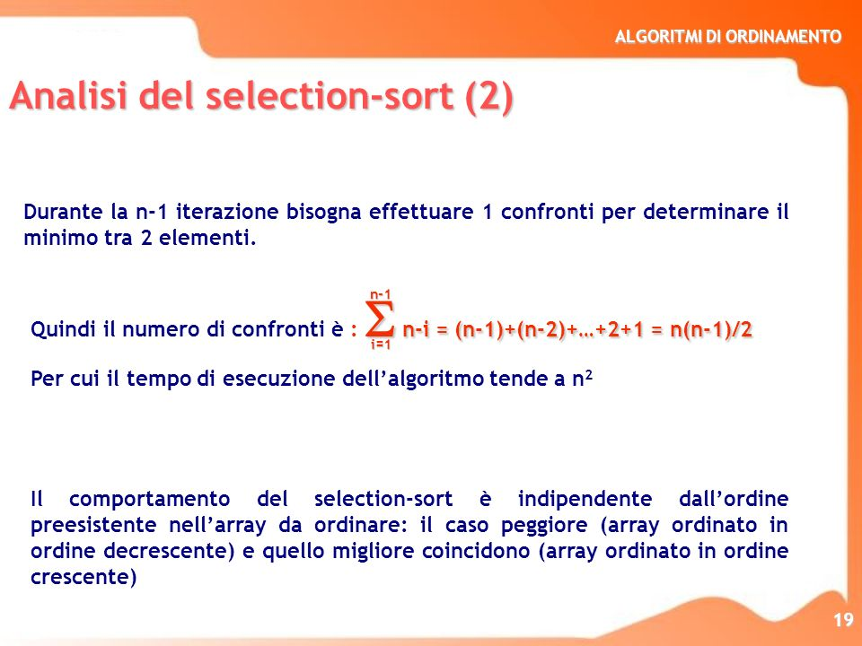 Analisi del selection-sort (2)