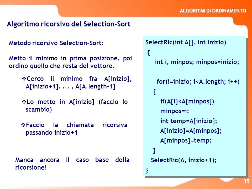 Algoritmo ricorsivo del Selection-Sort