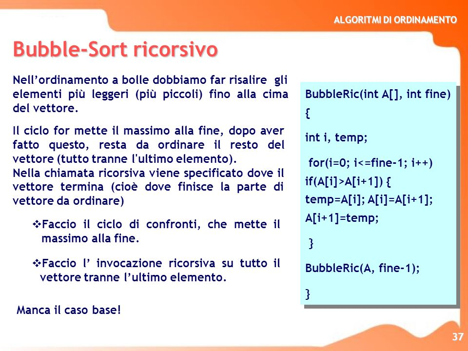 Bubble-Sort ricorsivo