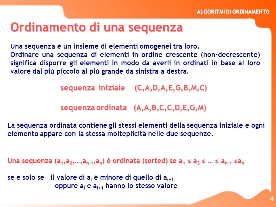 Ordinamento di una sequenza