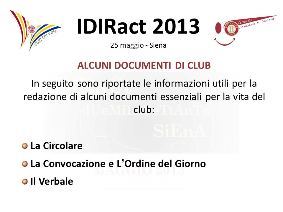 ALCUNI DOCUMENTI DI CLUB