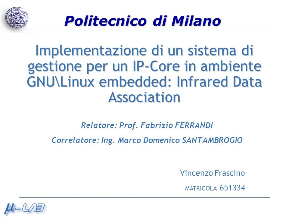 Implementazione di un sistema di gestione per un IP-Core in ambiente GNU\Linux embedded: Infrared Data Association