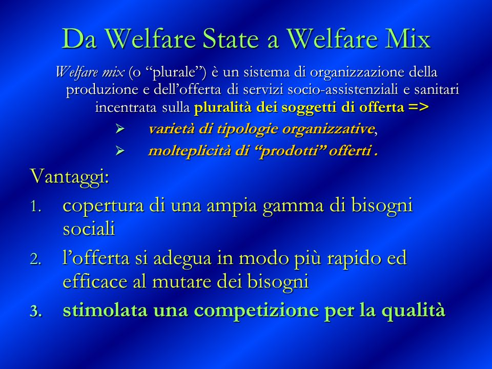 Da Welfare State a Welfare Mix