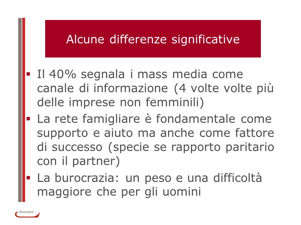 Alcune differenze significative