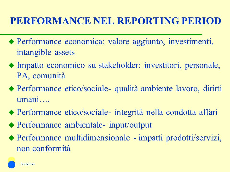 PERFORMANCE NEL REPORTING PERIOD