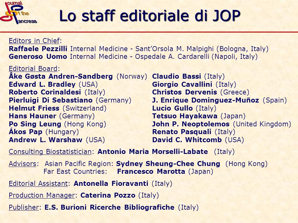 Lo staff editoriale di JOP