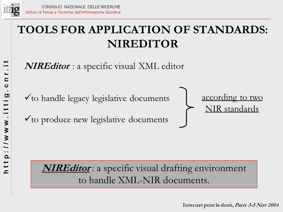 TOOLS FOR APPLICATION OF STANDARDS: NIREDITOR