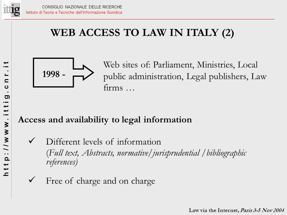 WEB ACCESS TO LAW IN ITALY (2)