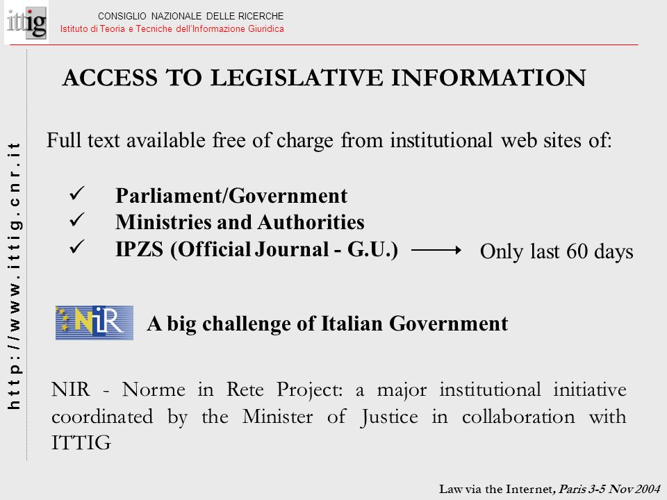 ACCESS TO LEGISLATIVE INFORMATION