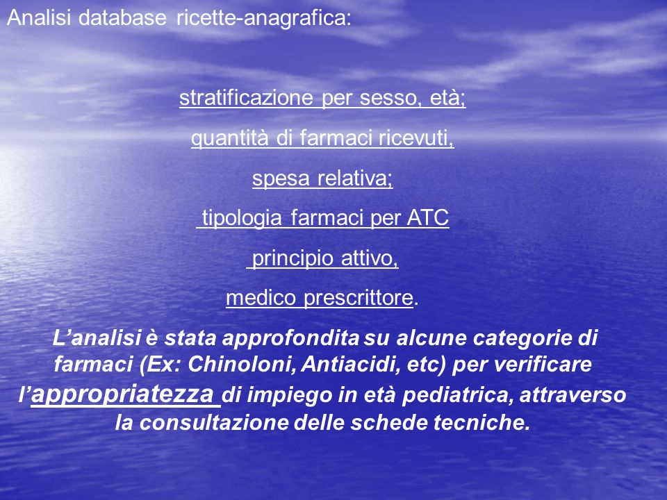 Analisi database ricette-anagrafica: