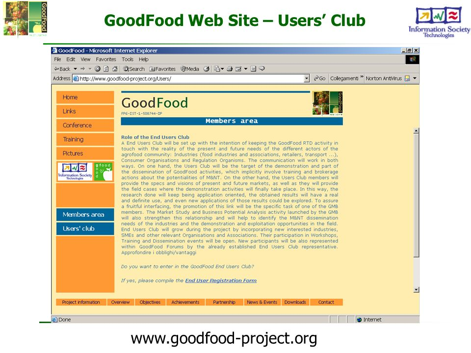 GoodFood Web Site – Users' Club