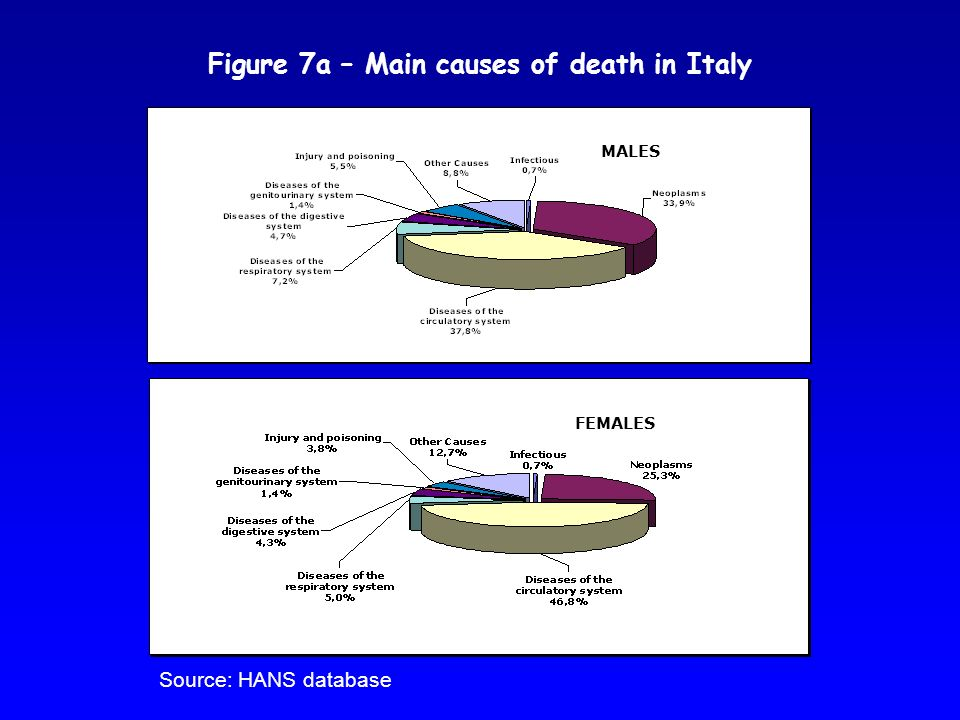 Figure 7a – Main causes of death in Italy