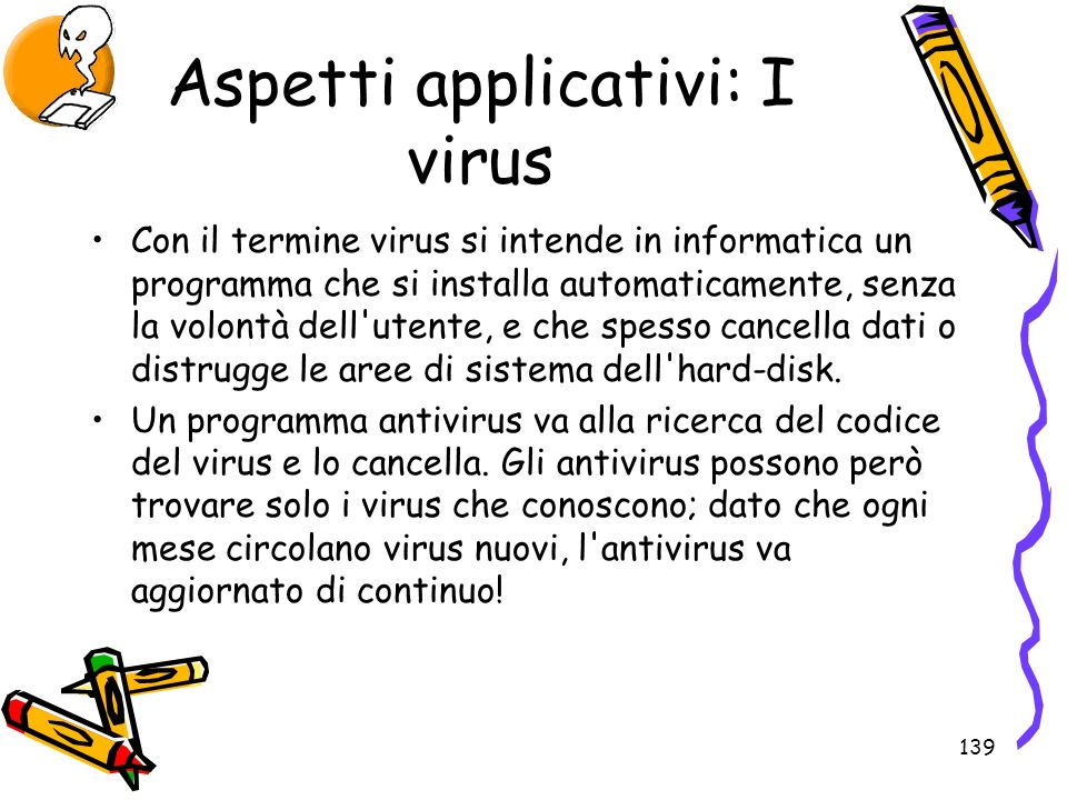 Aspetti applicativi: I virus