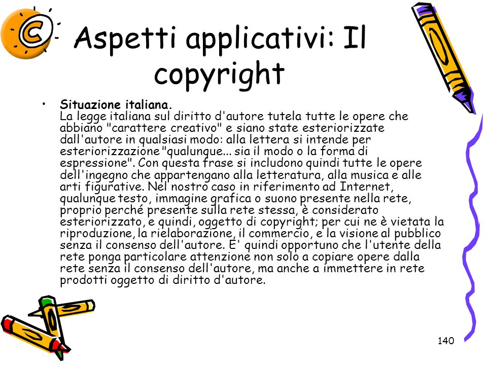 Aspetti applicativi: Il copyright