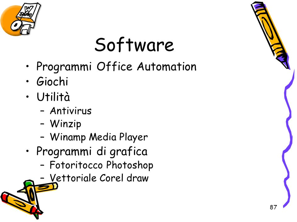 Software Programmi Office Automation Giochi Utilità