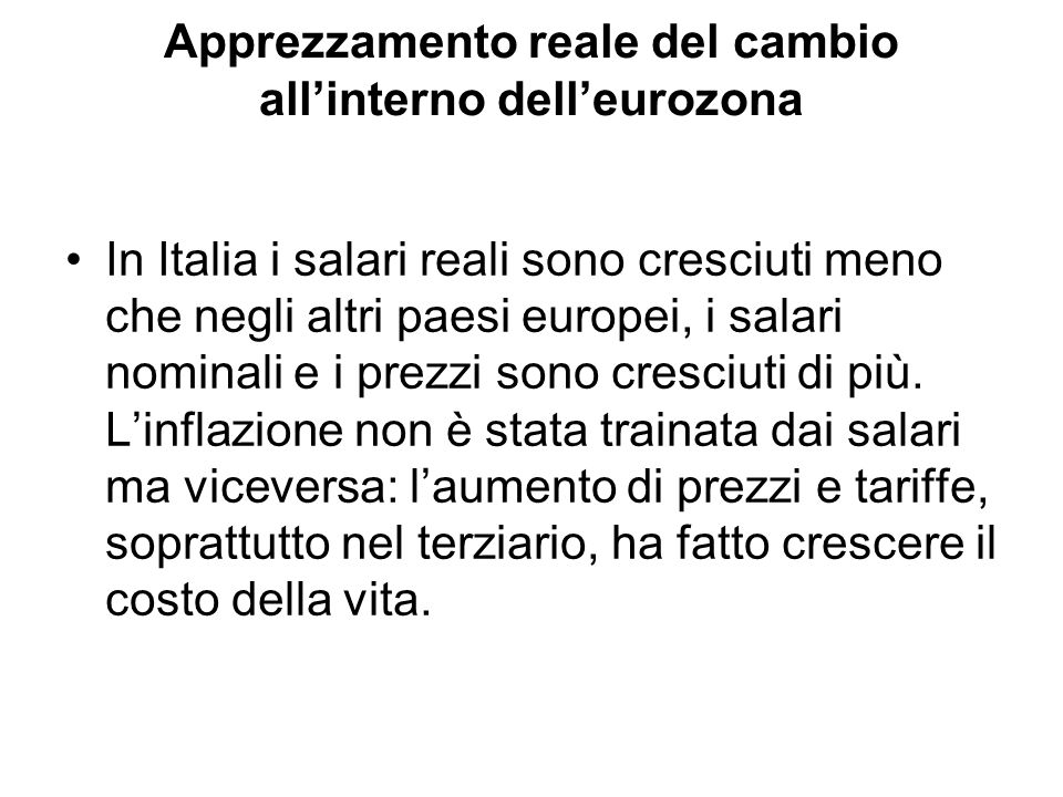 Apprezzamento reale del cambio all'interno dell'eurozona