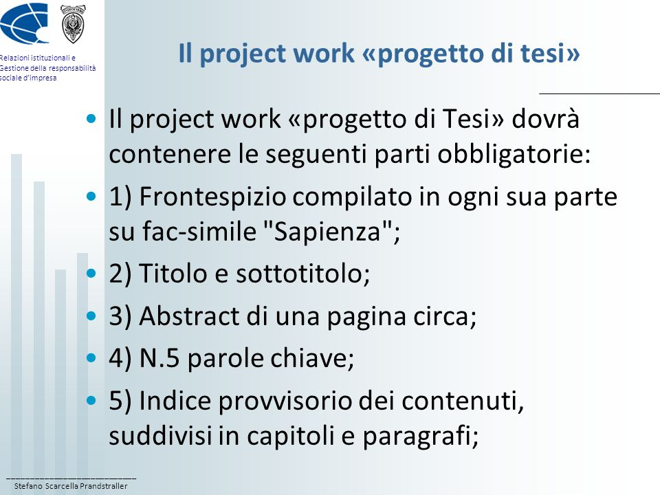 fac simile frontespizio project work