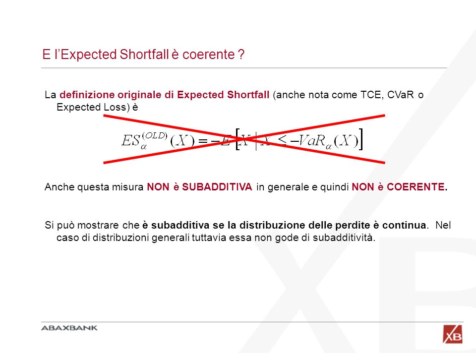 E l'Expected Shortfall è coerente