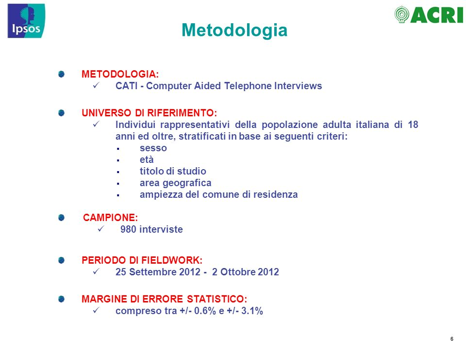Metodologia METODOLOGIA: CATI - Computer Aided Telephone Interviews