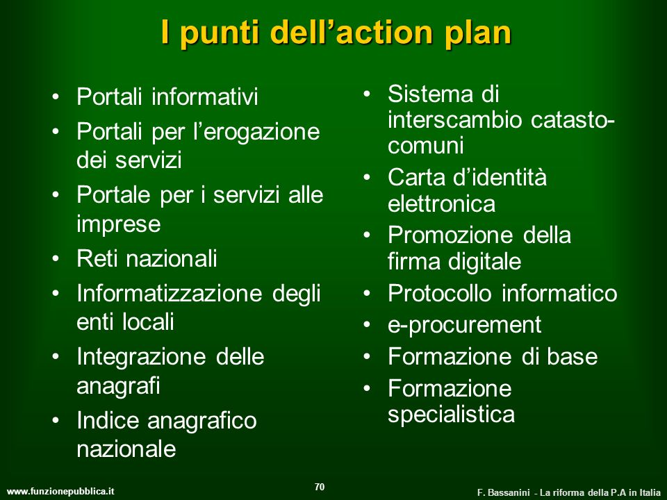 I punti dell'action plan