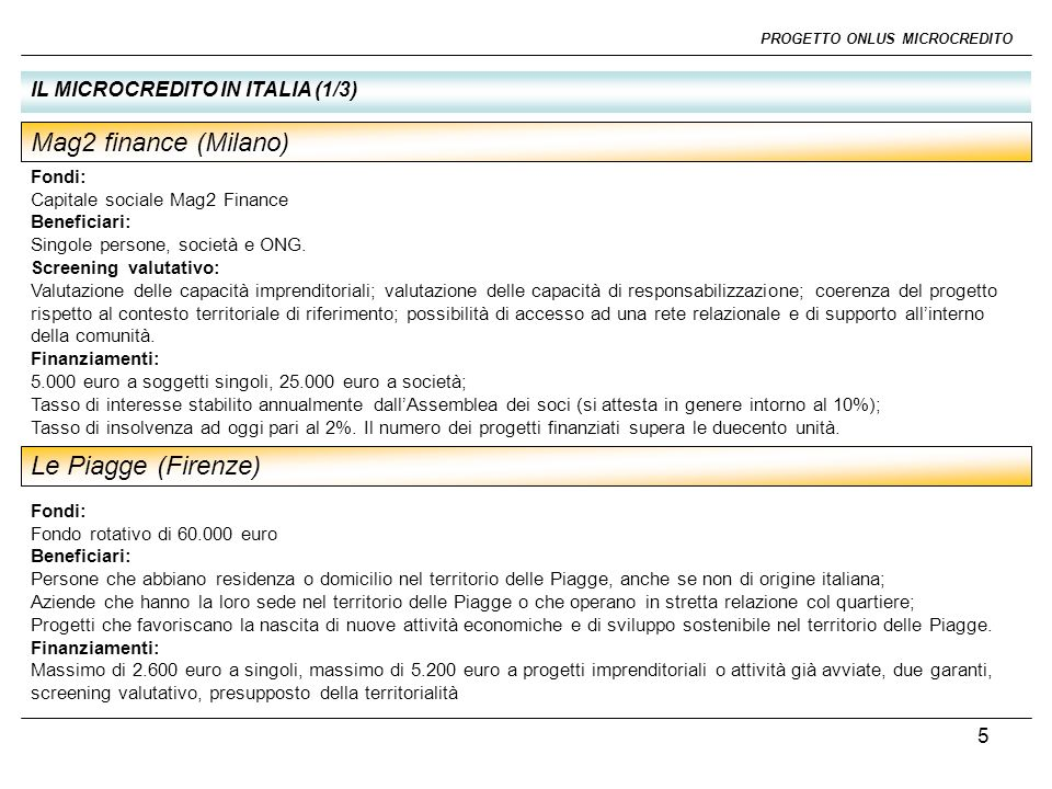 Mag2 finance (Milano) Le Piagge (Firenze)