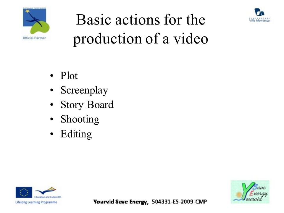 Basic actions for the production of a video