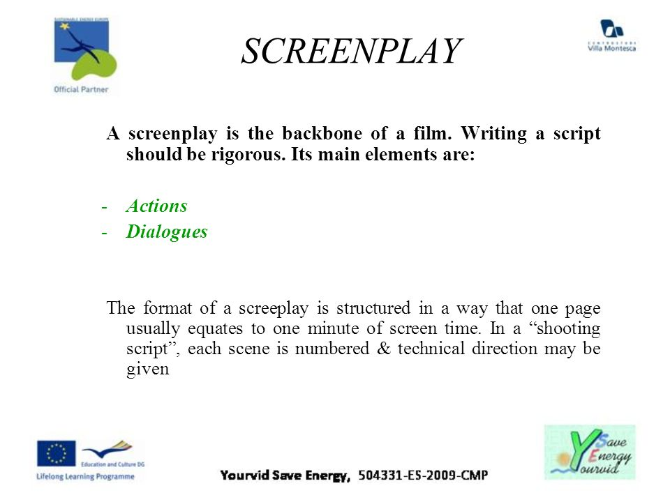 SCREENPLAY A screenplay is the backbone of a film. Writing a script should be rigorous. Its main elements are: