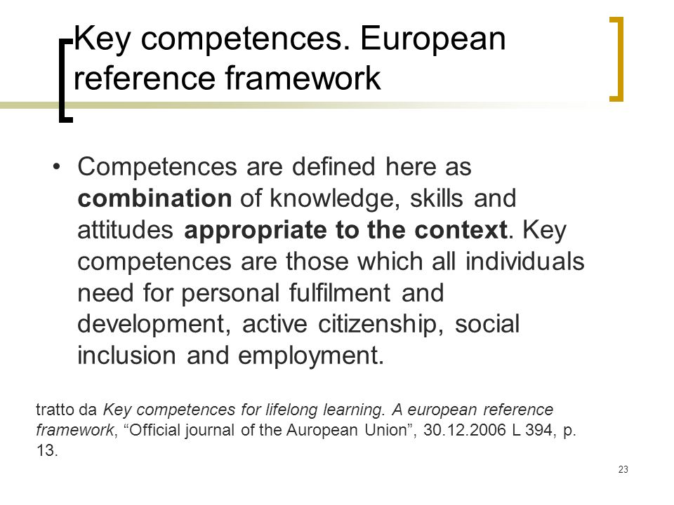 Key competences. European reference framework