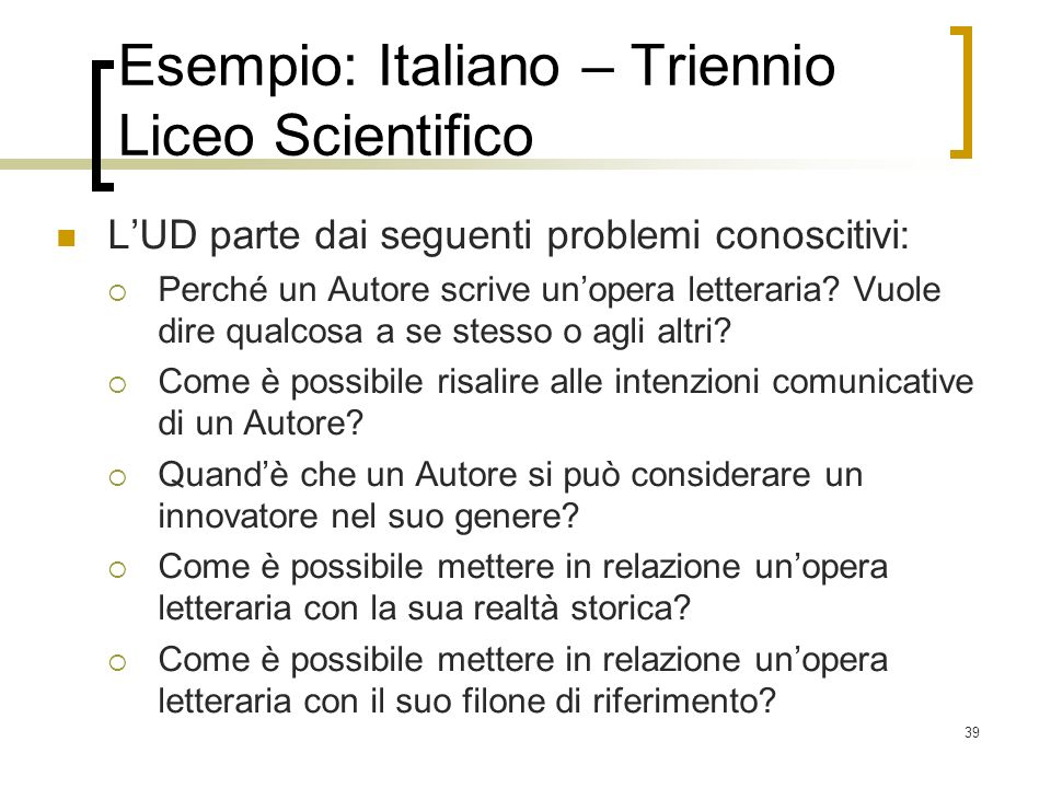 Esempio: Italiano – Triennio Liceo Scientifico