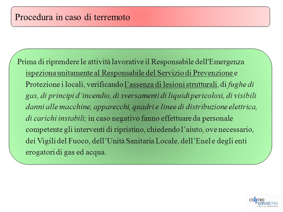 Procedura in caso di terremoto
