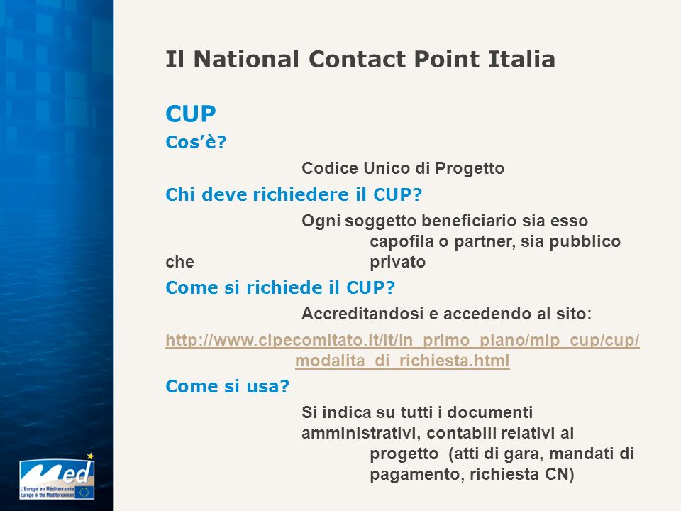 Il National Contact Point Italia CUP