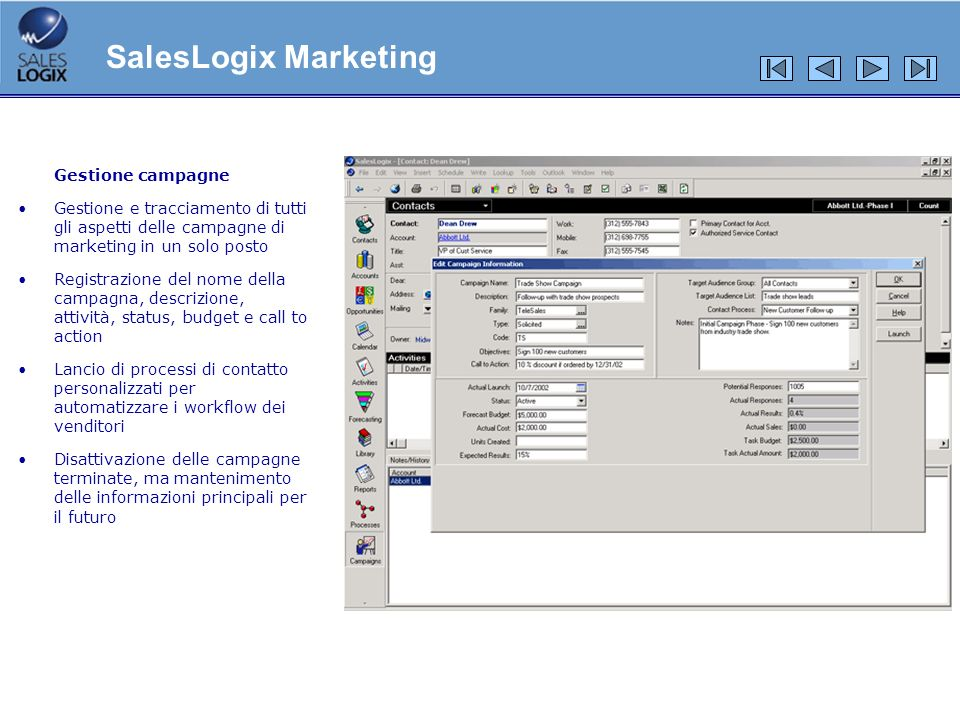 SalesLogix Marketing Gestione campagne