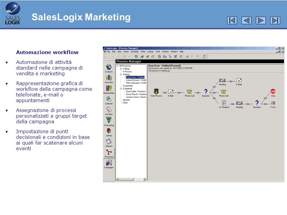 SalesLogix Marketing Automazione workflow