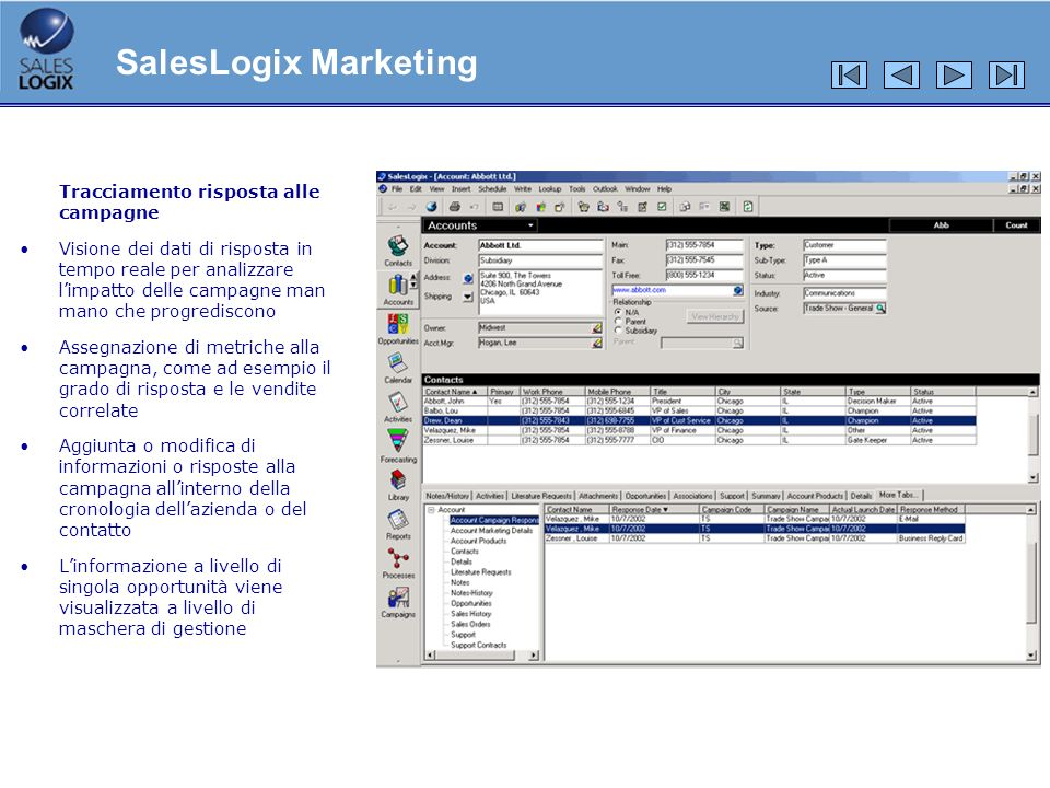 SalesLogix Marketing Tracciamento risposta alle campagne