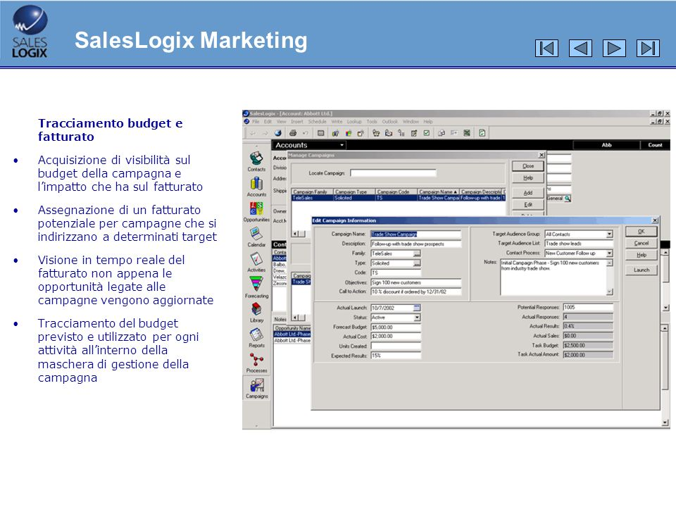 SalesLogix Marketing Tracciamento budget e fatturato