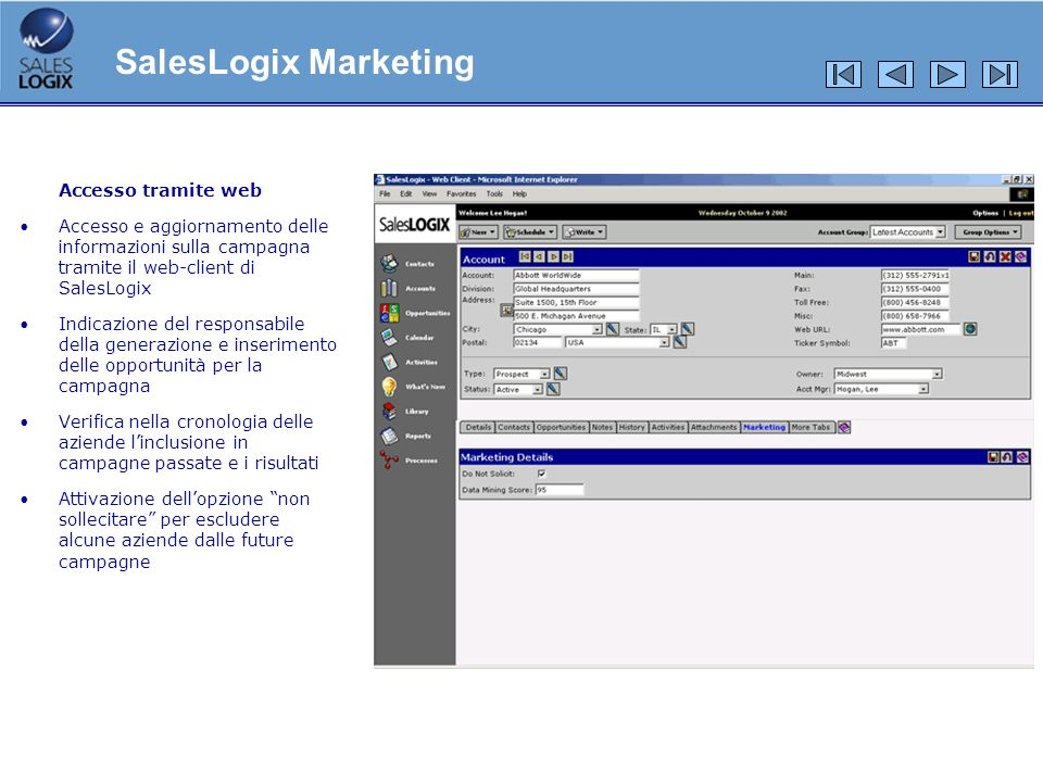 SalesLogix Marketing Accesso tramite web